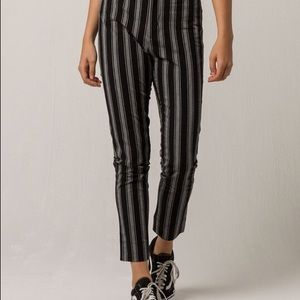 Black and white vertical stripped pants